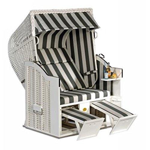 Sonnenpartner Strandkorb Classic 2 Sitzer Halbliegemodell weiß/grau