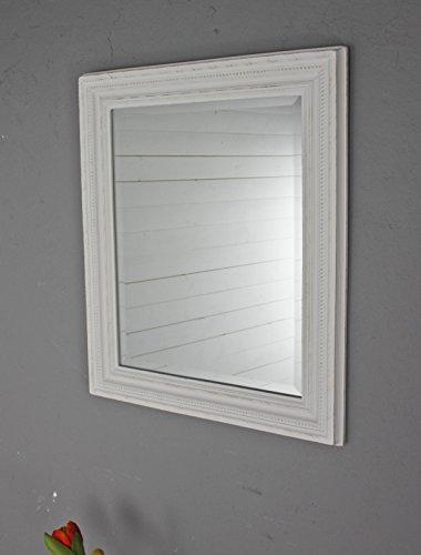 elbmöbel Wandspiegel rechteckig in weiß antik mit Patina 60 x 50cm mit Holz-Rahmen im Landhausstil