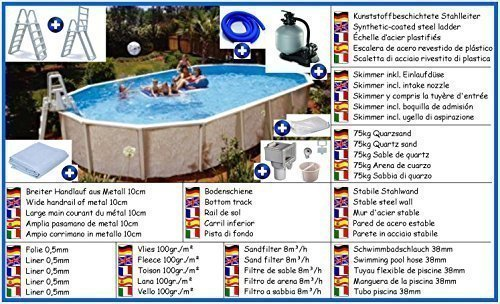 Stahlwandbecken Giant Mega Set oval 4,90m x 8,50m x 1,32m Folie 0,5mm Pool Pools Ovalbecken Ovalpool
