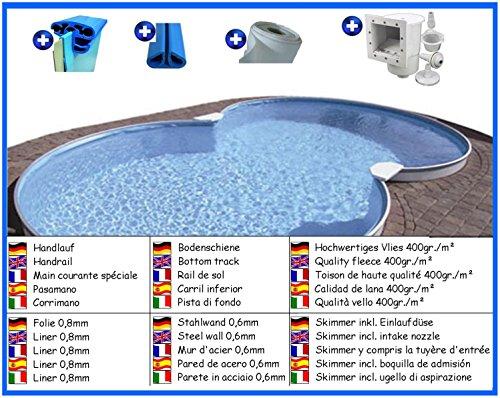 Stahlwandbecken Spar Set 8-form 3,20m x 5,25m x 1,20m Folie 0,8mm Pool Pools Achtformbecken Achtformpool