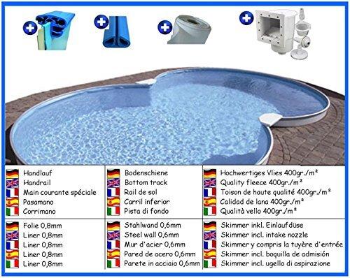 Stahlwandbecken Spar Set 8-form 3,60m x 6,25m x 1,20m Folie 0,8mm Pool Pools Achtformbecken Achtformpool