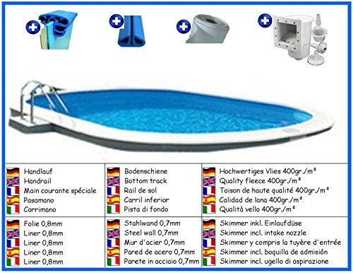 Stahlwandbecken Spar Set oval 3,50m x 7,00m x 1,50m Folie 0,8mm Pool Pools Ovalbecken Ovalpool