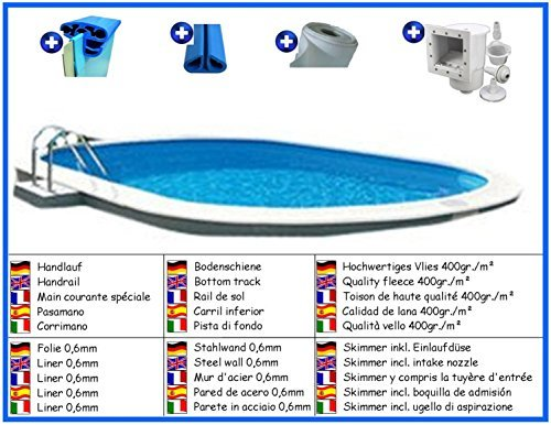 Stahlwandbecken Spar Set oval 3,60m x 7,37m x 1,20m Folie 0,6mm Pool Pools Ovalbecken Ovalpool