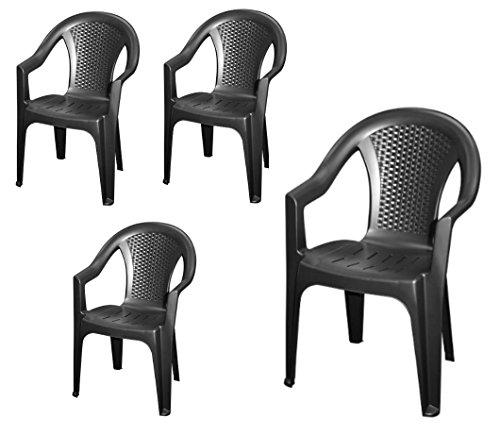 Stapelbarer Gartenstuhl in anthrazit - 4er Set - Monoblock in Rattan Optik aus Kunststoff - Stapelstuhl Kunststoffstuhl
