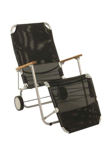 Stern 440701 Beach Carry, Gestell Aluminium mit Teakarmlehnen, Bezug Textilen schwarz