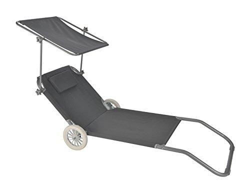 Strandliege in anthrazit mit Rädern - rollbare Sonnenliege für den Strand oder Garten (mit Dach)