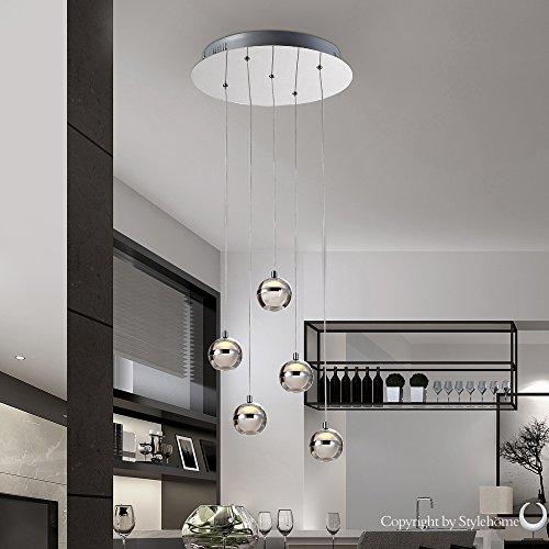 Stylehome® 15W LED Hängelampe Höhenverstellbar Kronleuchte Hängeleuchte Deckenlampe Esszimmer Wohnzimmer 4237-05A Chrom Warmweiss (A++)