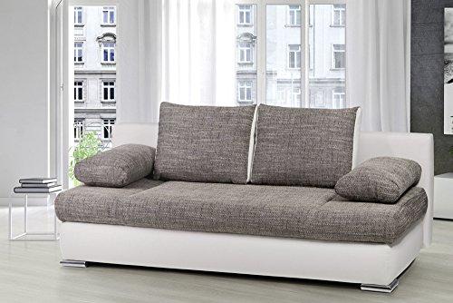 Stylisches Design Schlafsofa ORLANDO grau Strukturstoff Federkern mit Bettkasten