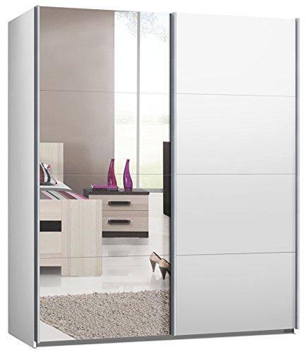 Switch Schwebetürenschrank Kleiderschrank in versch. Größen, 2- oder 3-Türig Korpus Weiß matt, Front: Spiegel und Weiß matt (200 cm)