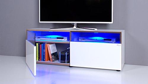 TV Bank / Lowboard NOOMO weiß / weiß Hochglanz inkl. RGB-LED Beleuchtung
