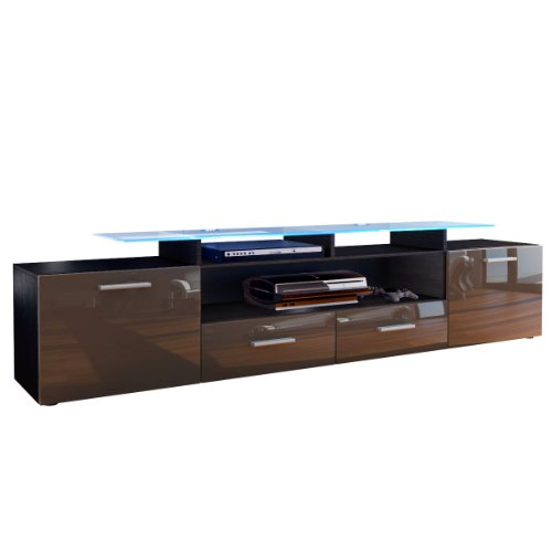 tv board lowboard almada v2 korpus in schwarz matt front in schoko hochglanz m bel24. Black Bedroom Furniture Sets. Home Design Ideas