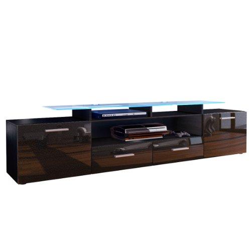 TV Board Lowboard Almada V2, Korpus in Schwarz matt / Front in Schwarz metallic Hochglanz