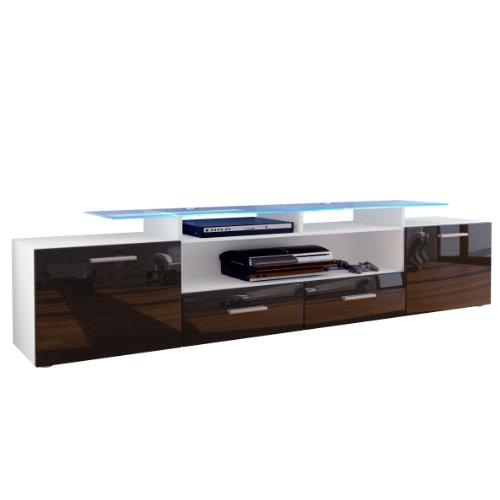 TV Board Lowboard Almada V2, Korpus in Weiß matt / Front in Schwarz metallic Hochglanz