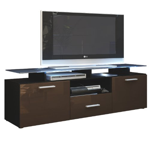 tv board lowboard almada korpus in schwarz matt front in schoko hochglanz m bel24. Black Bedroom Furniture Sets. Home Design Ideas