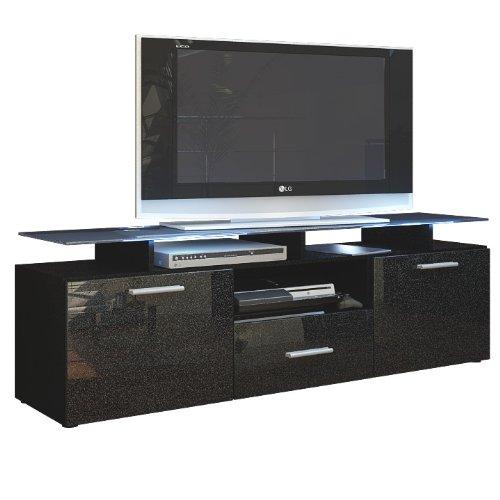 tv board lowboard almada korpus in schwarz matt front in schwarz metallic hochglanz m bel24. Black Bedroom Furniture Sets. Home Design Ideas