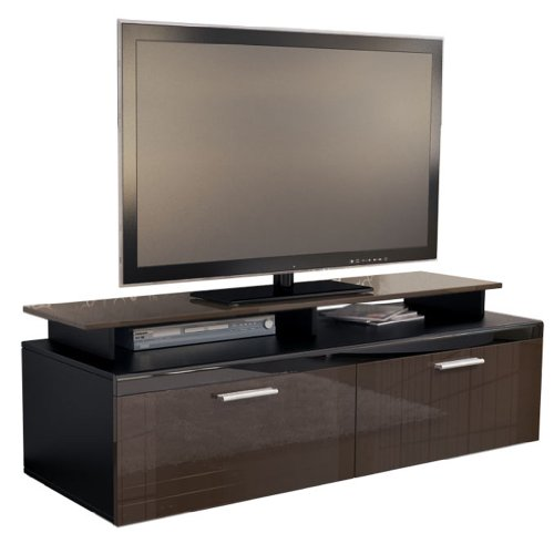 tv board lowboard atlanta korpus in schwarz matt front in schoko hochglanz inkl tv aufsatz. Black Bedroom Furniture Sets. Home Design Ideas