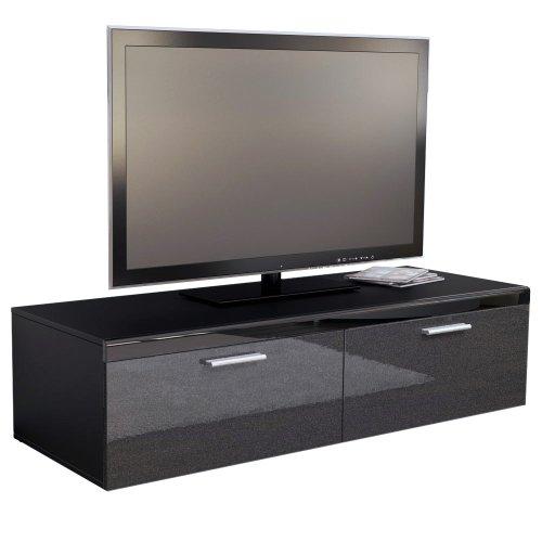 TV Board Lowboard Atlanta in Schwarz / Schwarz metallic Hochglanz