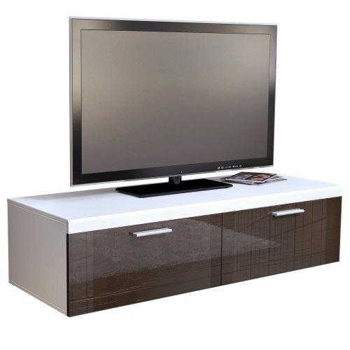 TV Board Lowboard Atlanta in Weiß / Schoko Hochglanz