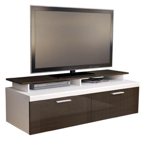 TV Board Lowboard Atlanta, Korpus in Weiß matt / Front in Schoko Hochglanz inkl. TV-Aufsatz