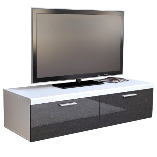 tv board lowboard atlanta in wei schwarz metallic hochglanz m bel24. Black Bedroom Furniture Sets. Home Design Ideas
