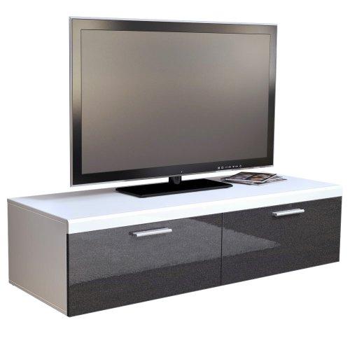 TV Board Lowboard Atlanta in Weiß / Schwarz metallic Hochglanz