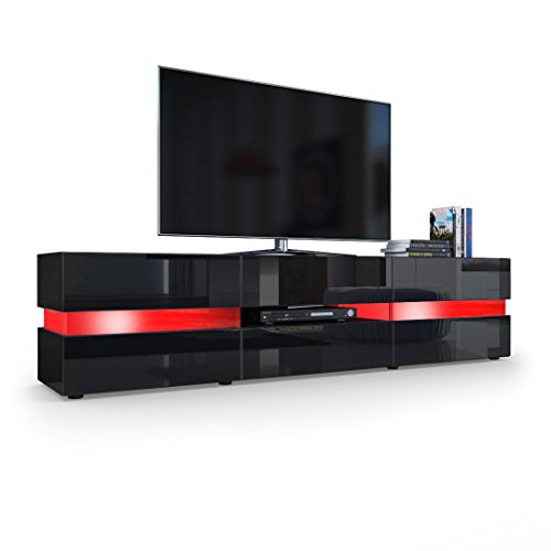tv board lowboard flow korpus in schwarz matt front in. Black Bedroom Furniture Sets. Home Design Ideas