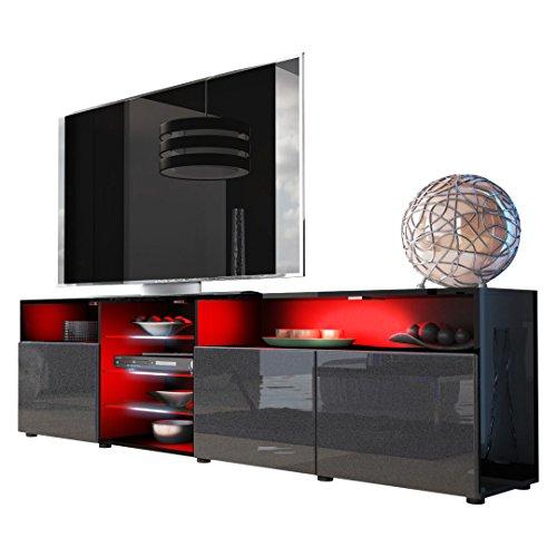 TV Board Lowboard Granada V2 in Schwarz / Weiß Hochglanz