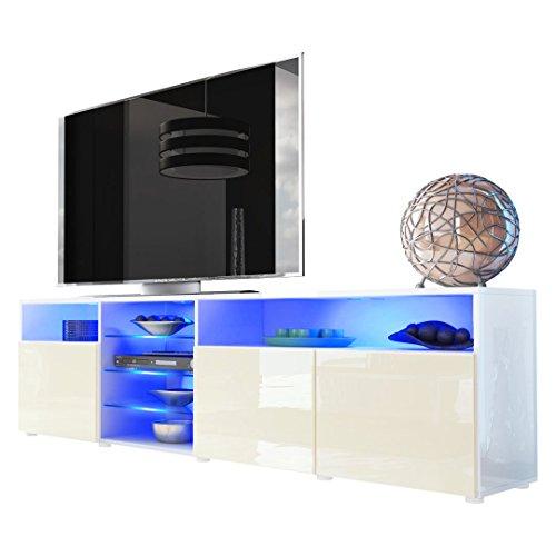 TV Board Lowboard Granada V2, Korpus in Weiß / Front in Creme Hochglanz