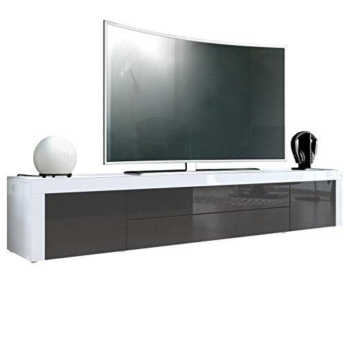 tv board lowboard la paz korpus in wei hochglanz front in schwarz metallic hochglanz mit. Black Bedroom Furniture Sets. Home Design Ideas