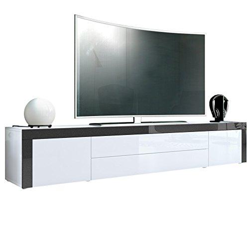 TV Board Lowboard La Paz, Korpus in Weiß Hochglanz / Front in Weiß Hochglanz mit Rahmen in Schwarz metallic Hochglanz