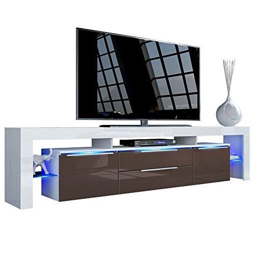 TV Board Lowboard Lima Nova V2, Korpus in Weiß matt / Front in Schoko Hochglanz
