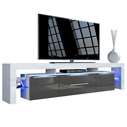 TV Board Lowboard Lima Nova V2, Korpus in Weiß matt / Front in Schwarz metallic Hochglanz