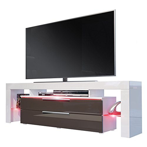 tv board lowboard lima nova korpus in wei matt front in schoko hochglanz m bel24. Black Bedroom Furniture Sets. Home Design Ideas