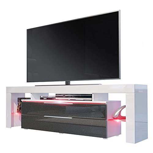 TV Board Lowboard Lima Nova, Korpus in Weiß matt / Front in Schwarz metallic Hochglanz