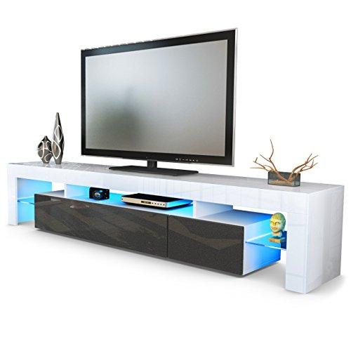 TV Schrank Lowboard Fernsehschrank Fernsehtisch Wohnzimmer Lima V2 in Weiß / Schwarz metallic Hochglanz