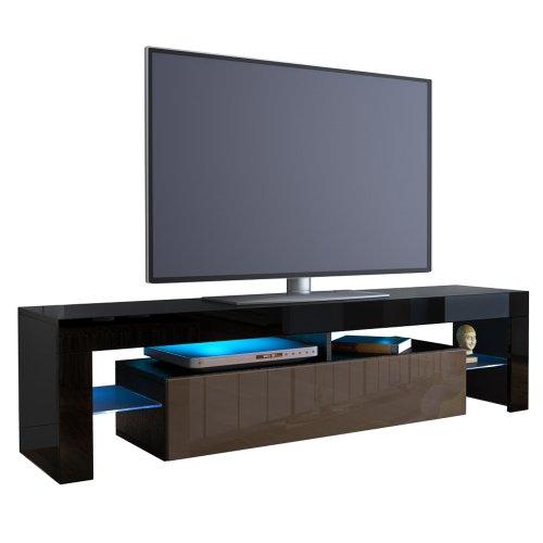 tv board lowboard lima korpus in schwarz front in schoko hochglanz m bel24. Black Bedroom Furniture Sets. Home Design Ideas