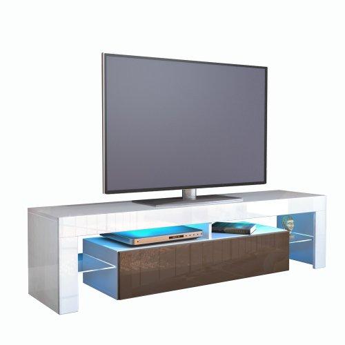 TV Schrank Lowboard Fernsehschrank Fernsehtisch Wohnzimmer Lima, Korpus in Weiß / Front in Schoko Hochglanz