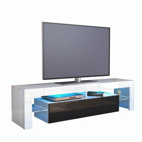 TV Schrank Lowboard Fernsehschrank Fernsehtisch Wohnzimmer Lima, Korpus in Weiß / Front in Schwarz metallic Hochglanz