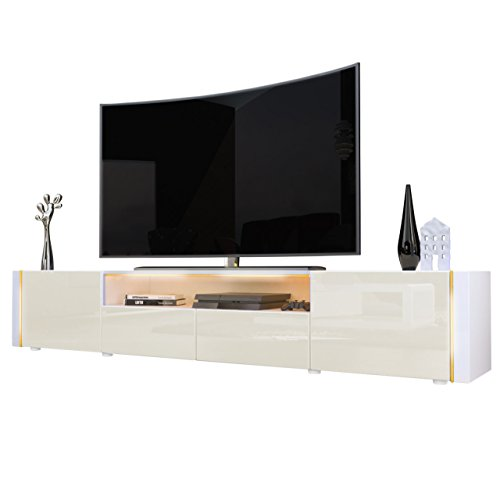 tv board lowboard marino v2 in wei creme hochglanz m bel24. Black Bedroom Furniture Sets. Home Design Ideas