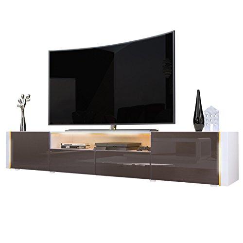 TV Board Lowboard Marino V2 in Weiß / Schoko Hochglanz