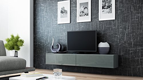 tv board lowboard migo h ngeschrank wohnwand 180cm grau matt grau hochglanz m bel24. Black Bedroom Furniture Sets. Home Design Ideas