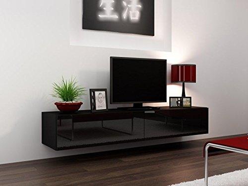 tv board lowboard migo hngeschrank wohnwand 180cm schwarz matt schwarz hochglanz 0 m bel24. Black Bedroom Furniture Sets. Home Design Ideas