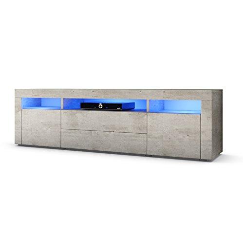 TV Board Lowboard Santa Fe 166cm in Beton-Optik inkl. LED Beleuchtung