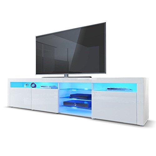 TV Board Lowboard Santa Fe, Korpus in Weiß Hochglanz / Front in Weiß Hochglanz inkl. LED Beleuchtung