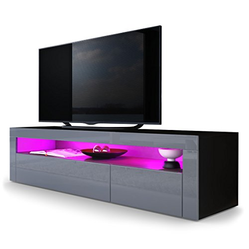 TV Board Lowboard Valencia, Korpus in Schwarz matt / Front in Grau Hochglanz mit Rahmen in Grau Hochglanz