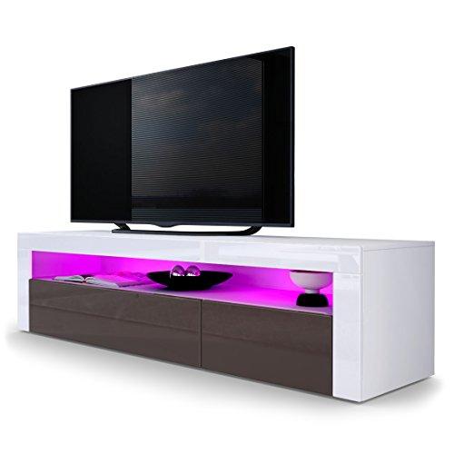 TV Board Lowboard Valencia, Korpus in Weiß matt / Front in Schoko Hochglanz mit Rahmen in Weiß Hochglanz
