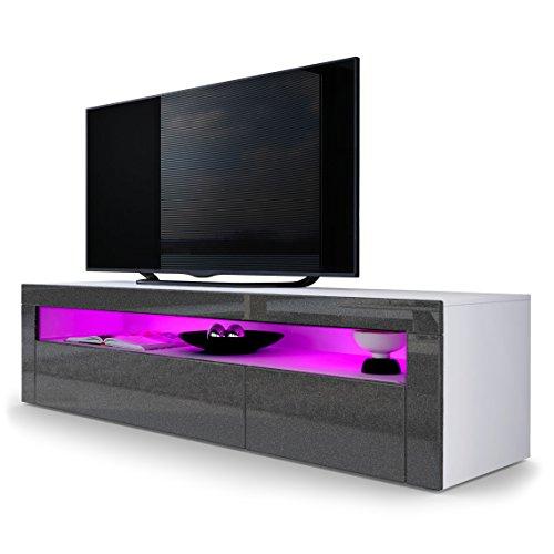 TV Board Lowboard Valencia, Korpus in Weiß matt / Front in Schwarz metallic Hochglanz mit Rahmen in Schwarz metallic Hochglanz