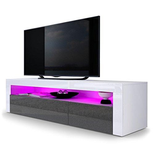TV Board Lowboard Valencia, Korpus in Weiß matt / Front in Schwarz metallic Hochglanz mit Rahmen in Weiß Hochglanz