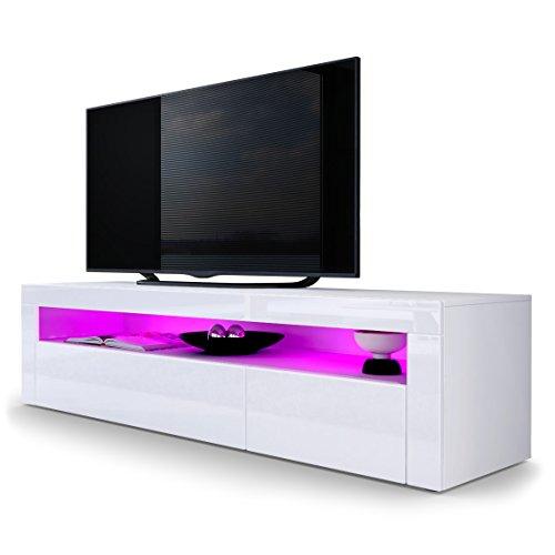TV Board Lowboard Valencia, Korpus in Weiß matt / Front in Weiß Hochglanz mit Rahmen in Weiß Hochglanz