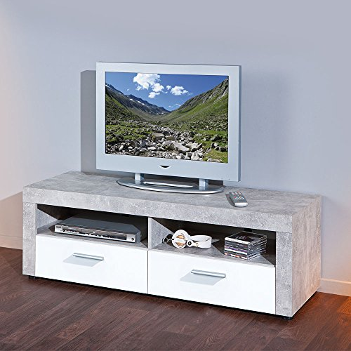 tv board in grau betonoptik wei pharao24 m bel24. Black Bedroom Furniture Sets. Home Design Ideas